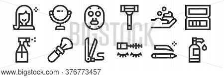 Set Of 12 Thin Outline Icons Such As Shampoo, Mascara, Brush, Foam, Face Mask, Mirror For Web, Mobil