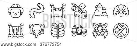Set Of 12 Thin Outline Icons Such As No Cutting, Buggy, Elephant, Mountain, Bridge, Centipede For We