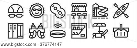 Set Of 12 Thin Outline Icons Such As Picnic Basket, Vending Machine, Water Slide, Water Slide, Rubbe