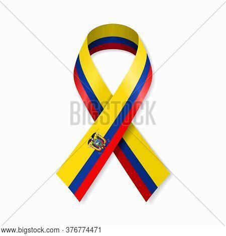 Ecuadorian Flag Stripe Ribbon On White Background. Vector Illustration.
