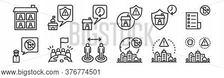 Set Of 12 Thin Outline Icons Such As Threat, Forbidden, Victory, Quarantine, Stay At Home, Policy Fo
