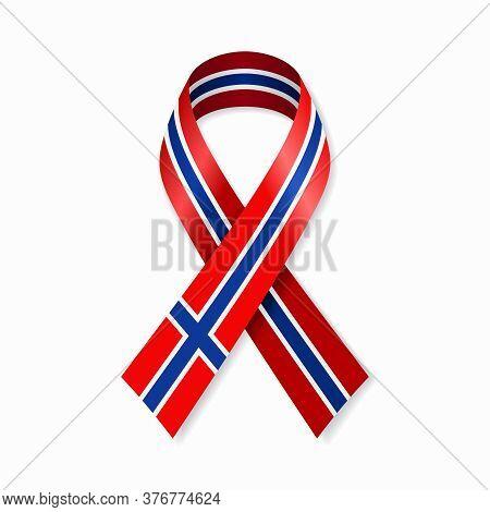 Norwegian Flag Stripe Ribbon On White Background. Vector Illustration.