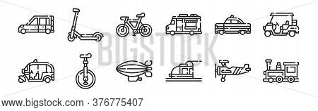 Set Of 12 Thin Outline Icons Such As Train, Subway, Unicycle, Taxi, Bicycle, Kick Scooter For Web, M
