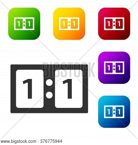 Black Sport Mechanical Scoreboard And Result Display Icon Isolated On White Background. Set Icons In