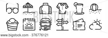 Set Of 12 Thin Outline Icons Such As Cloudy, Direction, Calendar, Drink, Bag, Umbrella For Web, Mobi