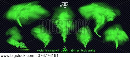 Green Smoke Set 8 Isolated On Transparent Background. Magic Mist Cloud, Chemical Toxic Gas, Steam Wa