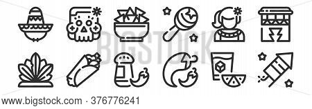 Set Of 12 Thin Outline Icons Such As Firework, Chilli, Burrito, Mexican, Tortilla, Skull For Web, Mo