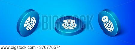 Isometric Car Brake Disk With Caliper Icon Isolated On Blue Background. Blue Circle Button. Vector I