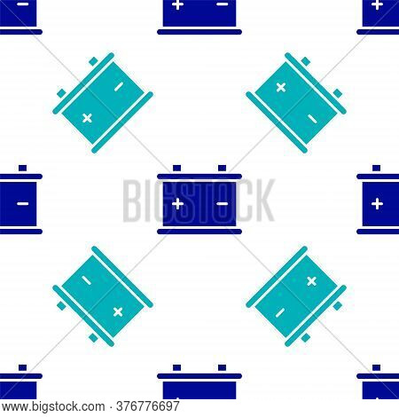 Blue Car Battery Icon Isolated Seamless Pattern On White Background. Accumulator Battery Energy Powe