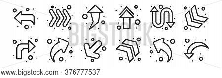 Set Of 12 Thin Outline Icons Such As Down Left Arrow, Turn Right, Arrow Upper Right, Double Arrows,