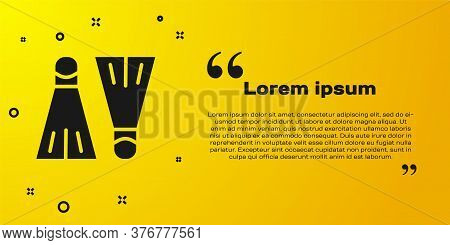 Black Rubber Flippers For Swimming Icon Isolated On Yellow Background. Diving Equipment. Extreme Spo