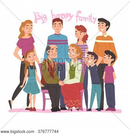 Big Happy Family Portrait, Several Generations Posing Together, Grandparents, Mother, Father And Chi