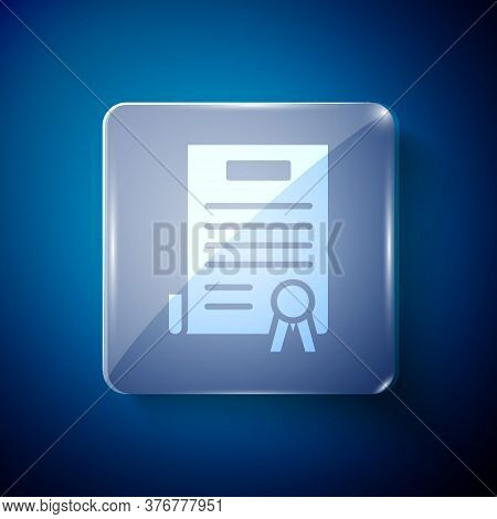 White Declaration Of Independence Icon Isolated On Blue Background. Square Glass Panels. Vector Illu