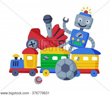 Baby Toys Set, Robot, Pram, Ball, Train Cute Colorful Objects For Kids Development And Entertainment