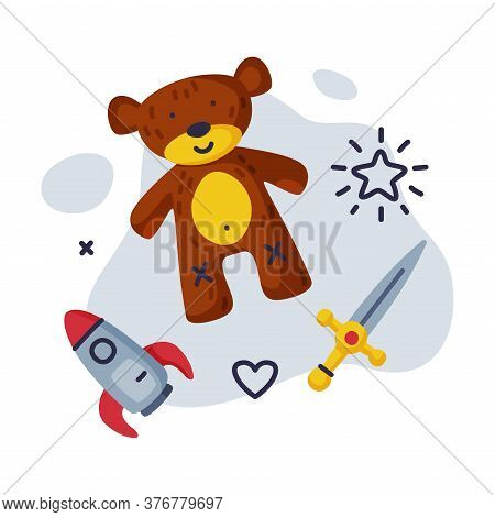 Sword, Teddy Bear Rocket Baby Toys Set, Kids Game Various Objects Cartoon Vector Illustration