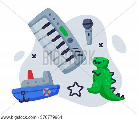Steamboat, Dinosaur, Piano, Microphone Baby Toys Set, Kids Game Various Objects Cartoon Vector Illus