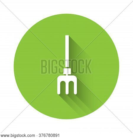 White Garden Rake Icon Isolated With Long Shadow. Tool For Horticulture, Agriculture, Farming. Groun