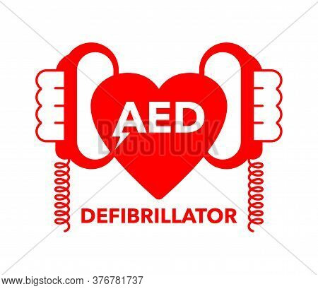 Aed Icon - Automated External Defibrillator -  Isolated Vector Medical Equipment Sign