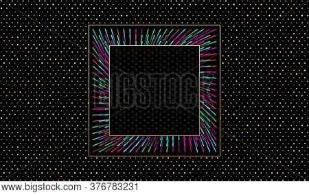 Dark Vector Background. Cut Paper Effect With Embossed Texture. Black Background With Golden Glitter