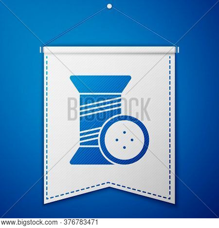 Blue Sewing Thread On Spool And Button Icon Isolated On Blue Background. Yarn Spool. Thread Bobbin.
