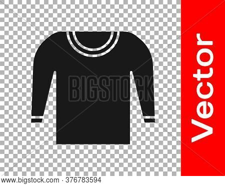 Black Sweater Icon Isolated On Transparent Background. Pullover Icon. Vector Illustration