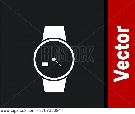 White Wrist Watch Icon Isolated On Black Background. Wristwatch Icon. Vector Illustration