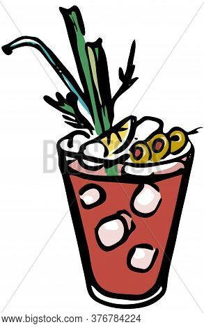 Stylish Hand-drawn Ink Style Ice Cold Fresh Salty Tomato Bloody Mary Garnished With Olives, Celery A