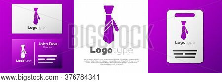 Logotype Tie Icon Isolated On White Background. Necktie And Neckcloth Symbol. Logo Design Template E