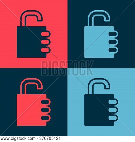 Pop Art Safe Combination Lock Icon Isolated On Color Background. Combination Padlock. Security, Safe