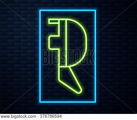 Glowing Neon Line Fencing Helmet Mask Icon Isolated On Brick Wall Background. Traditional Sport Defe
