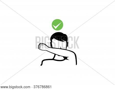 Cough Covering With The Arm. Line Icon. The Man Sneezes Or Coughs With His Out Of Hand Outline Style