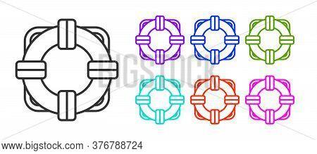 Black Line Lifebuoy Icon Isolated On White Background. Lifebelt Symbol. Set Icons Colorful. Vector I