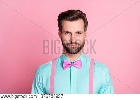 Close-up Portrait Of His He Nice Attractive Handsome Content Fashionable Well-groomed Brunette Macho