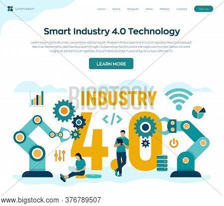 Smart Industry 4.0 Concept. Industrial Revolutions Steps. Factory Automation. Autonomous Industrial