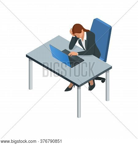 Isometric Business Women Stylish Isolated On White. Business Ladies, Business Woman Character Pose.