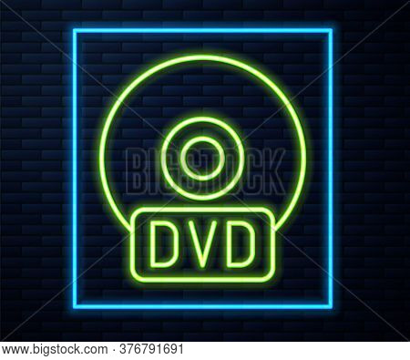 Glowing Neon Line Cd Or Dvd Disk Icon Isolated On Brick Wall Background. Compact Disc Sign. Vector I
