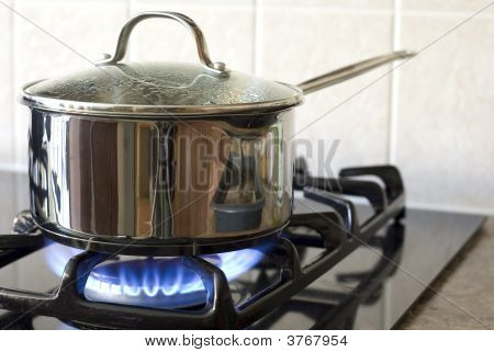Stainless Steel Pot On A Gas Stove