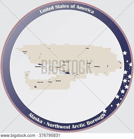 Round Button With Detailed Map Of Northwest Arctic Borough In Alaska, Usa.