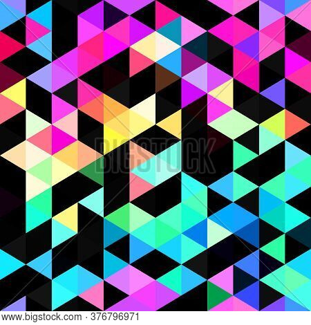 Seamless Vibrant Rainbow Geometric Mosaic Texture. Bold Psychedelic Neon Artistic Background Pattern
