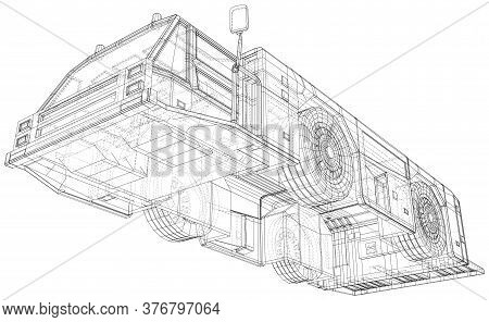 Tow Truck Transport In Airport. Wire-frame Line Isolated. Vector Rendering Of 3d