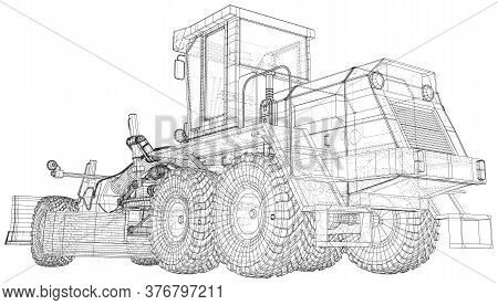 Building Grader Isolated. 3d Rendering. Wire-frame. The Layers Of Visible And Invisible Lines Are Se