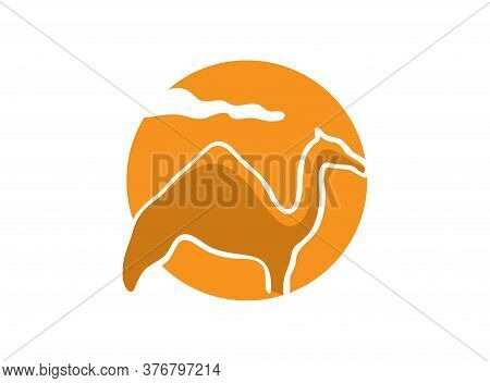 Camel Stand And Sun In Background For Logo Design Illustration On White Background