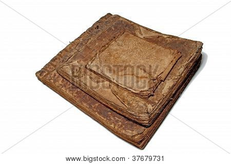 Three Very Old Books On White Background , Isolated