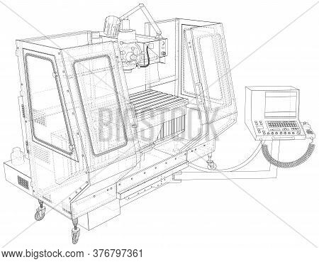 Vector Wire-frame Milling Machine. The Layers Of Visible And Invisible Lines Are Separated. Eps10 Fo
