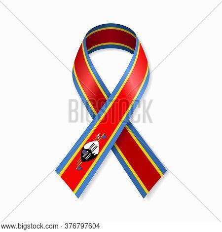 Eswatini Flag Stripe Ribbon On White Background. Vector Illustration.