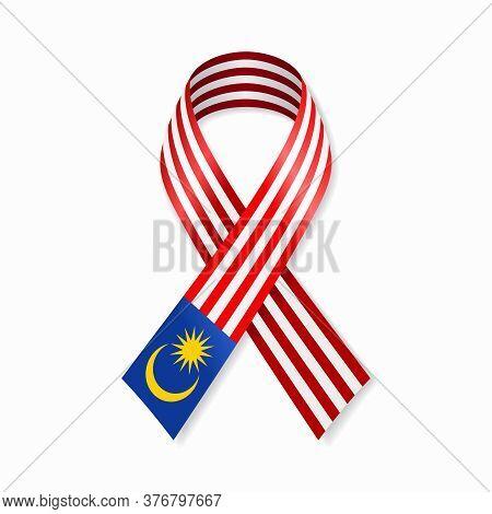 Malaysian Flag Stripe Ribbon On White Background. Vector Illustration.