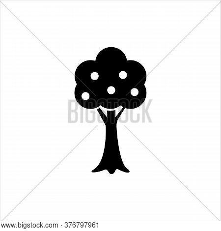 Apple Tree Glyph Icon. Solid Vector Black Icon. Logo Illustration. Symbol Of A Garden Or Farm. Flat