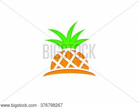 Half Pineapple Vector, Pineapple Ananas Fresh Fruit For Logo Design Illustration On White Background