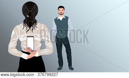 Woman Holding Phone Behind Her Back For A Man.
