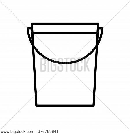 Water Bucket Line Style Icon Design, Agronomy Lifestyle Agriculture Harvest Rural Farming And Countr
